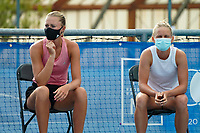 18th July 2020, Cannes, France;   Kristina Mladenovic France and Fiona Ferro France at the Challenge Elite FFT tournament
