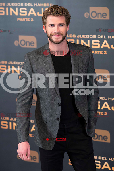 "Actor Liam Hemsworth during the presentation of film ""The Hunger Games: Sinsajo Part 2"" in Madrid, Novermber 10, 2015.<br /> (ALTERPHOTOS/BorjaB.Hojas)"