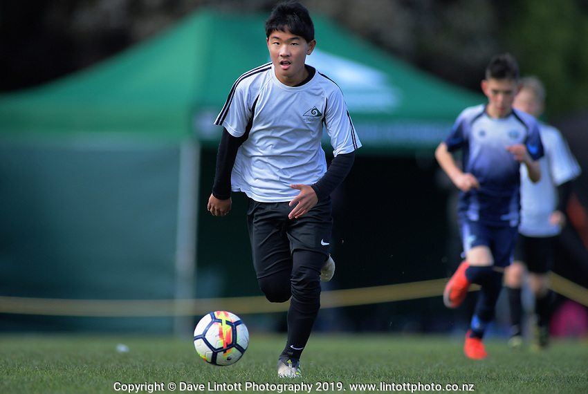 Ian Shin (Mount Maunganui Intermediate). Boys' football. 2019 AIMS games at Gordon Spratt Park in Papamoa, New Zealand on Thursday, 12 September 2019. Photo: Dave Lintott / lintottphoto.co.nz