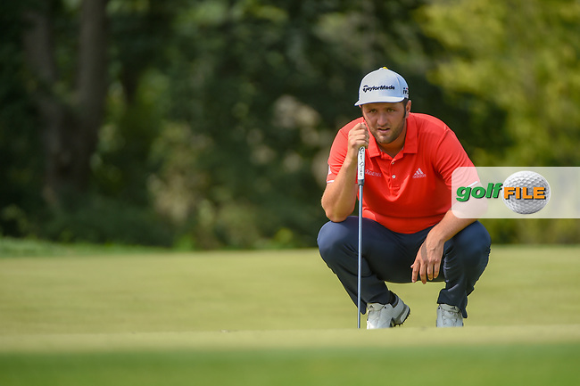 Jon Rahm (ESP) lines up his putt on 9 during 4th round of the 100th PGA Championship at Bellerive Country Club, St. Louis, Missouri. 8/12/2018.<br /> Picture: Golffile | Ken Murray<br /> <br /> All photo usage must carry mandatory copyright credit (© Golffile | Ken Murray)