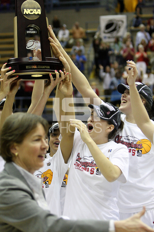 BERKELEY, CA - MARCH 30: Sarah Boothe, Michelle Harrison, Grace Mashore and the rest of the team  hoist the regional champions trophy following Stanford's 74-53 win against the Iowa State Cyclones on March 30, 2009 at Haas Pavilion in Berkeley, California.