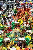 Rio de Janeiro, Brazil. Samba school float; fruit coctail theme with six scantily-clad girls; Carnival.
