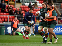 Leicester Tigers' Guy Thompson and David Feao during the pre match warm up<br /> <br /> Photographer Hannah Fountain/CameraSport<br /> <br /> Gallagher Premiership - Leicester Tigers v Wasps - Saturday 2nd March 2019 - Welford Road - Leicester<br /> <br /> World Copyright © 2019 CameraSport. All rights reserved. 43 Linden Ave. Countesthorpe. Leicester. England. LE8 5PG - Tel: +44 (0) 116 277 4147 - admin@camerasport.com - www.camerasport.com