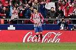 Atletico de Madrid's Alvaro Morata celebrates a VAR anulated goal during La Liga match between Atletico de Madrid and Real Madrid at Wanda Metropolitano Stadium in Madrid, Spain. February 09, 2019. (ALTERPHOTOS/A. Perez Meca)