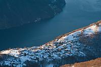Brè Paese seen from Monte Boglia, Ticino, Switzerland, January 2015.