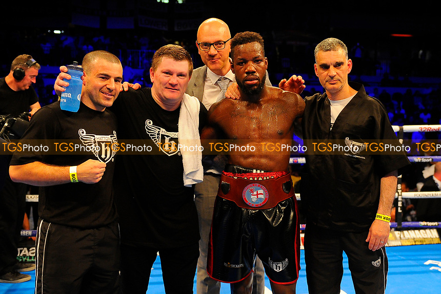 Darryl Williams (C) with Ricky Hatton (2nd L)after defeating Jahmaine Smyle during a Boxing Show at the Copper Box Arena on 8th July 2017