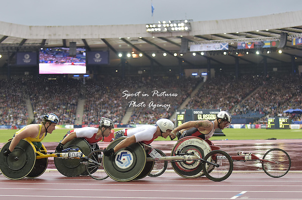 David Weir (ENG) in the 1500m T54. Athletics. PHOTO: Mandatory by-line: Garry Bowden/SIPPA/Pinnacle - Tel: +44(0)1363 881025 - Mobile:0797 1270 681 - VAT Reg No: 183700120 - 310714 - Glasgow 2014 Commonwealth Games - Hampden Park, Glasgow, Scotland, UK