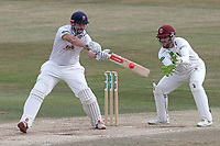 Nick Browne hits out for Essex as Steven Davies looks on from behind the stumps during Essex CCC vs Somerset CCC, Specsavers County Championship Division 1 Cricket at The Cloudfm County Ground on 28th June 2018