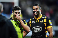Kurtley Beale of Wasps has a laugh with Ben Youngs of Leicester Tigers after the match. Aviva Premiership match, between Wasps and Leicester Tigers on January 8, 2017 at the Ricoh Arena in Coventry, England. Photo by: Patrick Khachfe / JMP