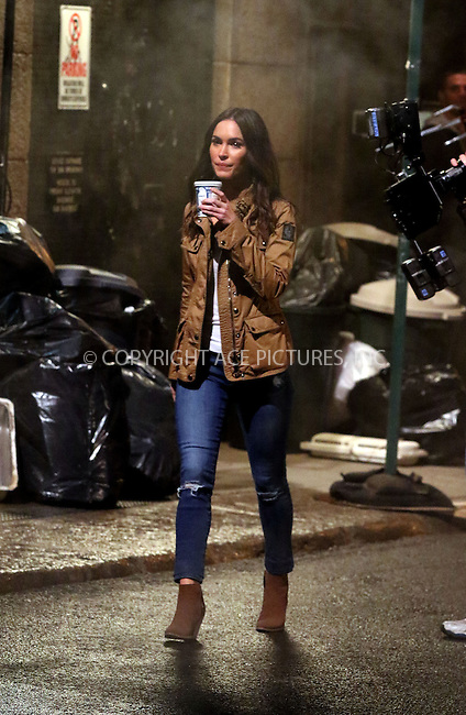 WWW.ACEPIXS.COM<br /> <br /> April 30 2015, New York City<br /> <br /> Megan Fox on the set of the new Ninja Turtles movie on April 30 2015 in New York City<br /> <br /> Please byline: Zelig Shaul/ACE Pictures<br /> <br /> ACE Pictures, Inc.<br /> www.acepixs.com<br /> Tel: 1 646 769 0430<br /> Email: info@acepixs.com