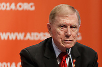 Former High Court Justice Mr Michael Kirby speaks at a press conference prior to the opening session of the 20th International AIDS Conference (AIDS 2014) at the Melbourne Convention and Exhibition Centre.<br /> For licensing of this image please go to http://demotix.com