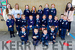 Miss Crowley's Junior infants class in Ardfert NS on Monday standing with Miss Crowley (Teacher), Miriam Dowling and Joan Murphy.