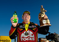 Nov 13, 2016; Pomona, CA, USA; NHRA top fuel driver Doug Kalitta celebrates after winning the Auto Club Finals at Auto Club Raceway at Pomona. Mandatory Credit: Mark J. Rebilas-USA TODAY Sports