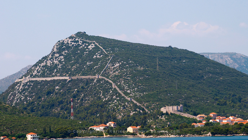 The Ston fortress built in the 14th century, and part of the 5 km long wall. View from the Mali Ston side Peljesac Peninsula. Ston. Peljesac peninsula. Dalmatian Coast, Croatia, Europe.