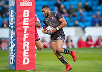 Picture by Allan McKenzie/SWpix.com - 26/04/2018 - Rugby League - Betfred Super League - Salford Red Devils v St Helens - AJ Bell Stadium, Salford, England - St Helens's Dominique Peyroux escapes tackles to score a try against Salford.