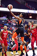 Washington, DC - June 3, 2018: Connecticut Sun guard Jasmine Thomas (5) goes up for a lay up during game between the Washington Mystics and Connecticut Sun at the Capital One Arena in Washington, DC. (Photo by Phil Peters/Media Images International)