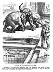 "The Unpersuadables. John Bull. ""You're both thirsty and I've brought you down to the tank, but you seem to prefer fighting to drinking. I may be forced to adopt a scheme of compulsory watering."" (an Interwar cartoon shows Moslem and Hindu elephants fighting and refusing to drink the water of New Constitution For India)"