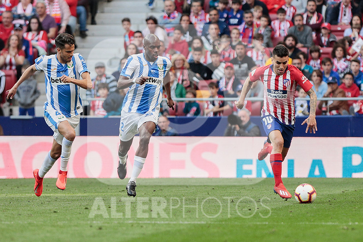 Atletico de Madrid's Angel Martin Correa and CD Leganes's Allan Romeo Nyom during La Liga match between Atletico de Madrid and CD Leganes at Wanda Metropolitano stadium in Madrid, Spain. March 09, 2019. (ALTERPHOTOS/A. Perez Meca)