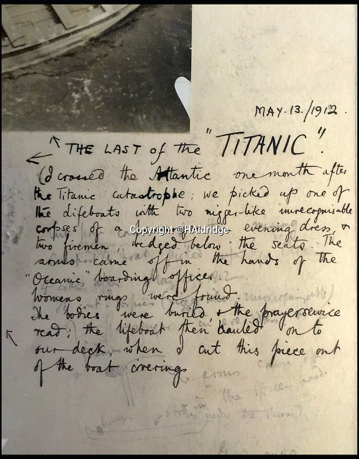 BNPS.co.uk (01202 558833)<br /> Pic: HAldridge/BNPS<br /> <br /> Passengers account of the incident dated may 12th 1912.<br /> <br /> A grusome account of how the bodies of three Titanic victims were found in an abandoned lifeboat a month after the disaster has surfaced after 104 years.<br /> <br /> The three men were discovered in the collapsable boat 200 miles from the wreck site by the passing British liner RMS Oceanic on May 13, 1912.<br /> <br /> The captain manoeuvred the ship towards the object in the water and the crew and passengers goulishly watched with binoculars as it dawned on them there were bodies still on board.