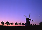 Europe, DEU, Germany, Northrhine Westphalia, Lower Rhine, Hinsbeck, Typical Windmill, Stammenmuehle, Moonrise, Morning....[ For each utilisation of my images my General Terms and Conditions are mandatory. Usage only against use message and proof. Download of my General Terms and Conditions under http://www.image-box.com or ask for sending. A clearance before usage is necessary...Material is subject to royalties. Each utilisation of my images is subject to a fee in accordance to the present valid MFM-List...Contact | archive@image-box.com | www.image-box.com ]