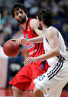 Real Madrid'sSergio Llull (r) and CSKA Moscow's Milos Teodosic during Euroleague 2012/2013 match.January 31,2013. (ALTERPHOTOS/Acero)