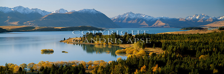 Lake Tekapo in Autumn. Mackenzie Country. Canterbury New Zealand.
