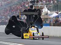 Apr 21, 2018; Baytown, TX, USA; NHRA top fuel driver Richie Crampton during qualifying for the Springnationals at Royal Purple Raceway. Mandatory Credit: Mark J. Rebilas-USA TODAY Sports