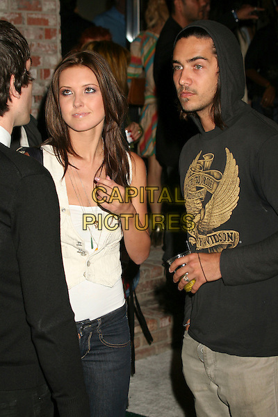 AUDRINA PARTRIDGE & BOBBY BECIA.Diesel Store Opening on Melrose Place, West Hollywood, California, USA..May 30th, 2007.half length cream waistcoat drink date hoody hooded top grey gray stubble facial hair patridge .CAP/ADM/BP.©Byron Purvis/AdMedia/Capital Pictures