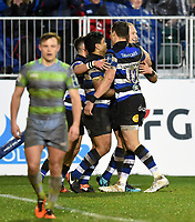 Jack Wilson of Bath Rugby celebrates his second half try with team-mates. Anglo-Welsh Cup match, between Bath Rugby and Newcastle Falcons on January 27, 2018 at the Recreation Ground in Bath, England. Photo by: Patrick Khachfe / Onside Images