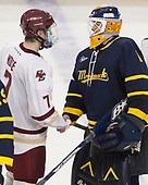 Connor Moore (BC - 7), Collin Delia (Merrimack - 1) - The visiting Merrimack College Warriors defeated the Boston College Eagles 6 - 3 (EN) on Friday, February 10, 2017, at Kelley Rink in Conte Forum in Chestnut Hill, Massachusetts.