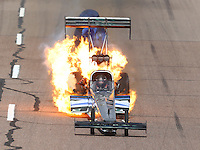 Feb 26, 2017; Chandler, AZ, USA; NHRA top fuel driver Terry Haddock has an engine fire in the first round of eliminations for the Arizona Nationals at Wild Horse Pass Motorsports Park. Mandatory Credit: Mark J. Rebilas-USA TODAY Sports