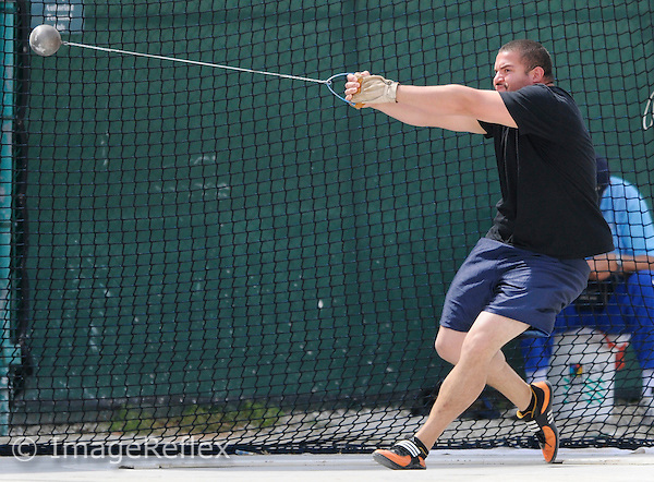 22 March 2008:  Florida International's Miguel Rios-Torres competes in the hammer throw during the 2008 Hurricane Invitational at Cobb Stadium in Coral Gables, Florida.