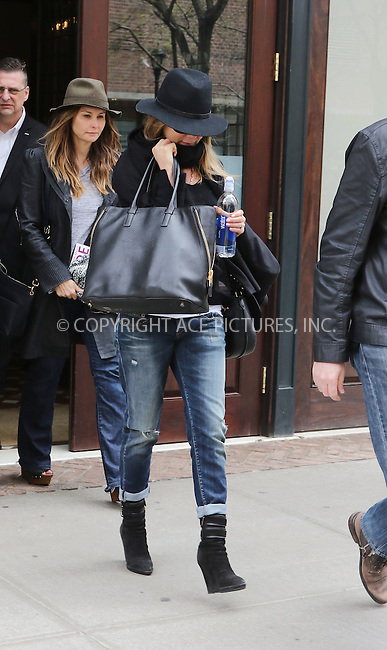 WWW.ACEPIXS.COM<br /> <br /> April 30 2015, New York City<br /> <br /> Actress Jennifer Aniston left a downtown hotel on April 30 2015 in New York City<br /> <br /> Please byline: Zelig Shaul/ACE Pictures<br /> <br /> <br /> <br /> <br /> <br /> ACE Pictures, Inc.<br /> www.acepixs.com<br /> For information please call 646 769 0430 or 212 243 8787