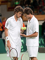 08-05-10, Tennis, Zoetermeer, Daviscup Nederland-Italie, Dubbles Robin Haase and Igor Sijsling (R) Simone Bolelli and Potito Starace