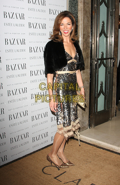 Heather Kerzner.Harpers Bazaar Women of the Year Awards at Claridges Hotel, London, Englnd..November 7th 2011.full length black dress clutch bag gold sequins sequined beige lace fur shrug.CAP/ROS.©Steve Ross/Capital Pictures