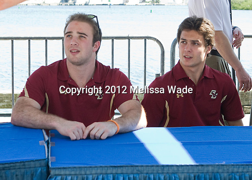 Cam Spiro (BC - 15), Steven Whitney (BC - 21) - The Boston College Eagles and Ferris State University Bulldogs took part in an autograph signing at Channelside Bay Plaza on Friday, April 6, 2012, in Tampa, Florida.