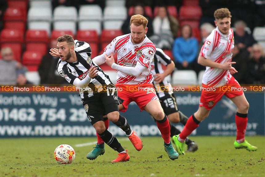 Jorge Grant of Notts County evades Connor Ogilvie of Stevenage during Stevenage vs Notts County, Sky Bet EFL League 2 Football at the Lamex Stadium on 4th March 2017