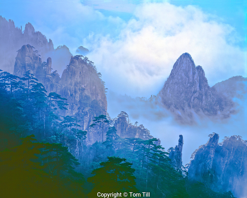 Fog-shrouded peaks, Huangshan Mountains National Park, People's Republic of China, Yellow Mountains, Evening, April