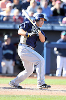 Anthony Rizzo of the San Diego Padres plays in a spring training game against the Seattle Mariners at Peoria Sports Complex on February 27, 2011 in Peoria, Arizona. .Photo by:  Bill Mitchell/Four Seam Images.