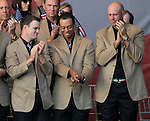 Tiger Woods shows Zach Johnson his grip on stage at the closing ceremony of the 2010 Ryder Cup at the Twenty Ten Course, Celtic Manor Resort, Newport, Wales, 4th October 2010..(Picture Eoin Clarke/www.golffile.ie)
