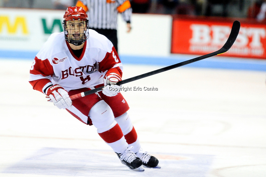 Boston University Terriers forward/defenseman Ben Rosen (8) during the third period of the Northeastern University at Boston University NCAA hockey match held at the Agganis Arena in Boston Massachusetts. Final score Northeastern University 6 Boston University 5  Eric Canha/CSM