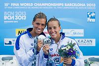 Tania Cagnotto and Francesca Dallape' ITA silver medal<br /> Women's 3m synchronized Springboard final <br /> 15th FINA World Aquatics Championships<br /> Barcelona 19 July - 4 August 2013<br /> Piscina Municipal de Montjuic, Barcelona (Spain) 20/07/2013 <br /> © Giorgio Perottino / Deepbluemedia.eu / Insidefoto