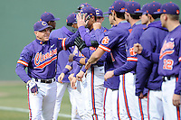 Head coach Jack Leggett (7) of the Clemson Tigers is introduced prior to the Reedy River Rivalry game against the South Carolina Gamecocks on Saturday, February 28, 2015, at Fluor Field at the West End in Greenville, South Carolina. South Carolina won, 4-1. (Tom Priddy/Four Seam Images)