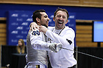 "DURHAM, NC - FEBRUARY 26: Notre Dame head coach Guiorgie ""Gia"" Kvaratskhelia (GEO) (right) with Hazem Khazbak (EGY) (left). The Atlantic Coast Conference Fencing Championships were held on February, 26, 2017, at Cameron Indoor Stadium in Durham, NC."
