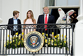 United States President Donald Trump, First Lady Melania Trump and son Barron Trump attend the annual Easter Egg Roll on the South Lawn of the White House  in Washington, DC, on April 17, 2017. <br /> Credit: Olivier Douliery / Pool via CNP