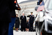 Former President George W. Bush and Laura Bush watch as the flag-draped casket of former President George H.W. Bush is carried by a joint services military honor guard from the U.S. Capitol, Wednesday, Dec. 5, 2018, in Washington. <br /> Credit: Alex Brandon / Pool via CNP