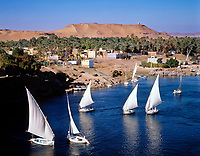EGY, Aegypten, bei Assuan: Feluken auf dem Nil | EGY, Egypt, near Assuan: feluccas on river Nile