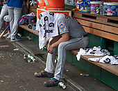 New York Mets starting pitcher Noah Syndergaard (34) cools off on the bench as his team bats in the sixth inning against the Washington Nationals at Nationals Park in Washington, D.C. on Wednesday, August 1, 2018.  The Nationals won the game 5 - 3.<br /> Credit: Ron Sachs / CNP<br /> (RESTRICTION: NO New York or New Jersey Newspapers or newspapers within a 75 mile radius of New York City)