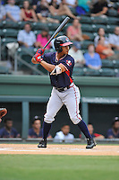 Right fielder Ray-Patrick Didder (11) of the Rome Braves bats in a game against the Greenville Drive on Thursday, September 1, 2016, at Fluor Field at the West End in Greenville, South Carolina. Rome won, 3-2. (Tom Priddy/Four Seam Images)
