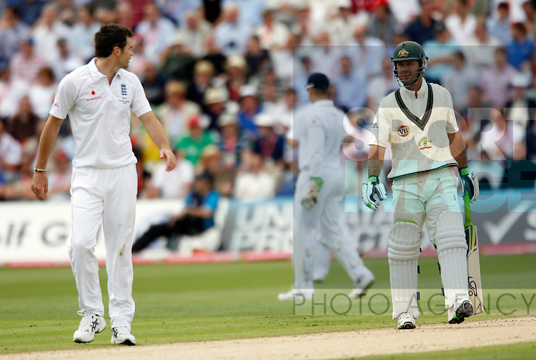 England's James Anderson gives some verbals to Australia's Ricky Ponting